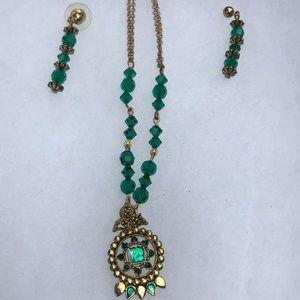 Jewelry - Green &Gold handmade set